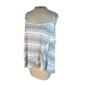 Maurices Flowy Ruffled Striped Tank Top Cami Camisole Blue White 2X